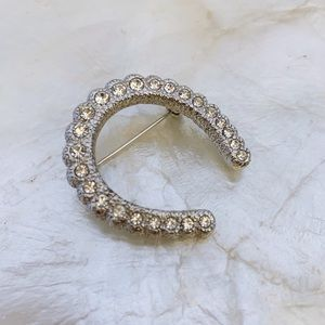 Vintage Jewelry - Silver Tone CZ Horseshoe Good Luck VTG Brooch Pin